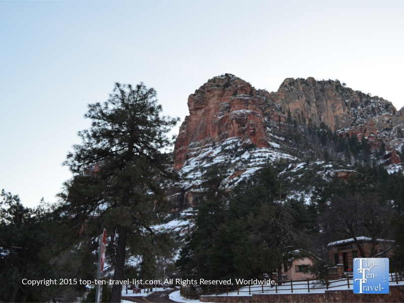 Rare snow at Slide Rock State Park in Sedona, Arizona