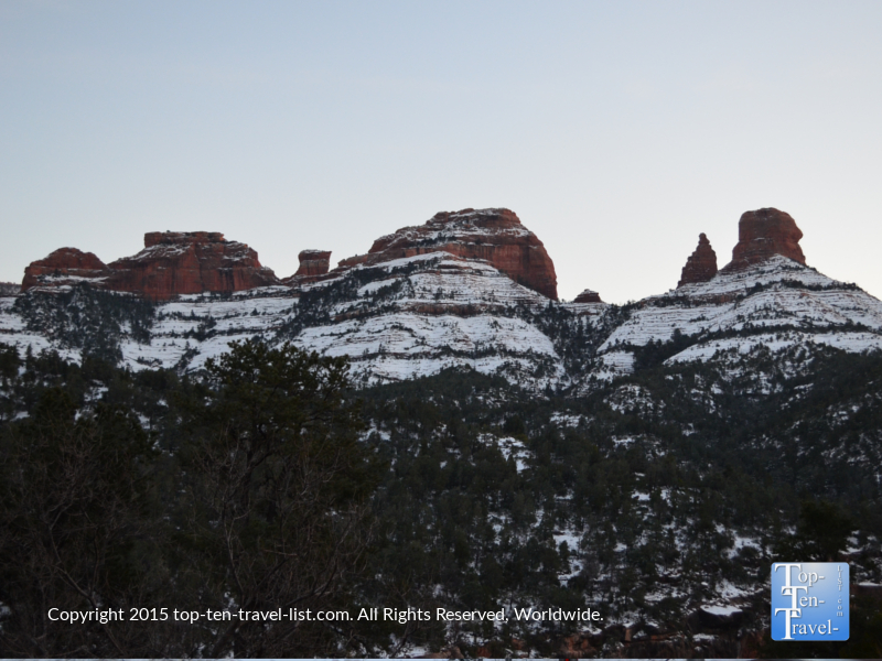 Snow covering the beautiful red rocks of Sedona. Oak Creek Canyon drive is beautiful year round, especially during the winter months!