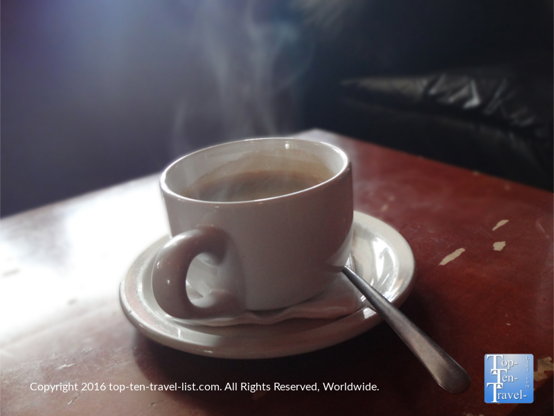A steaming Americano at Chill St. Pete Beach