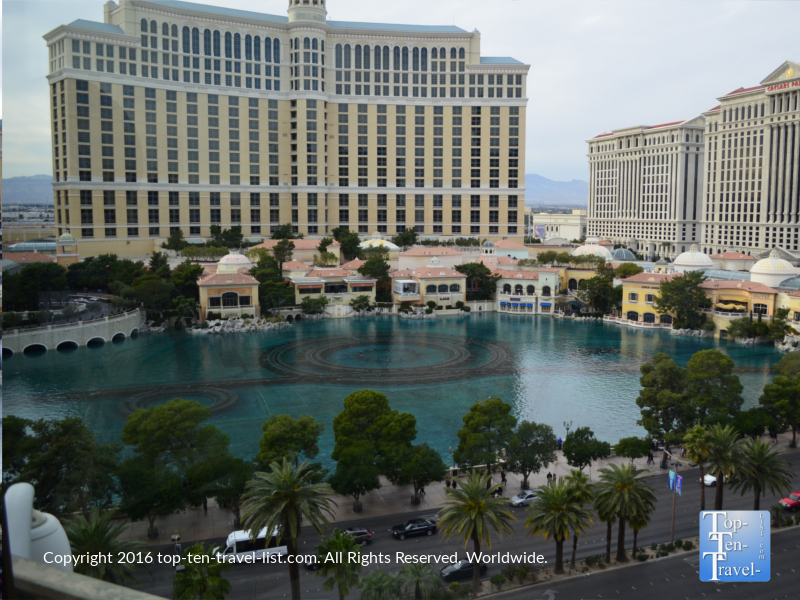 Amazing views of the Bellagio from the Eiffel Tower Restaurant in las Vegas, NV