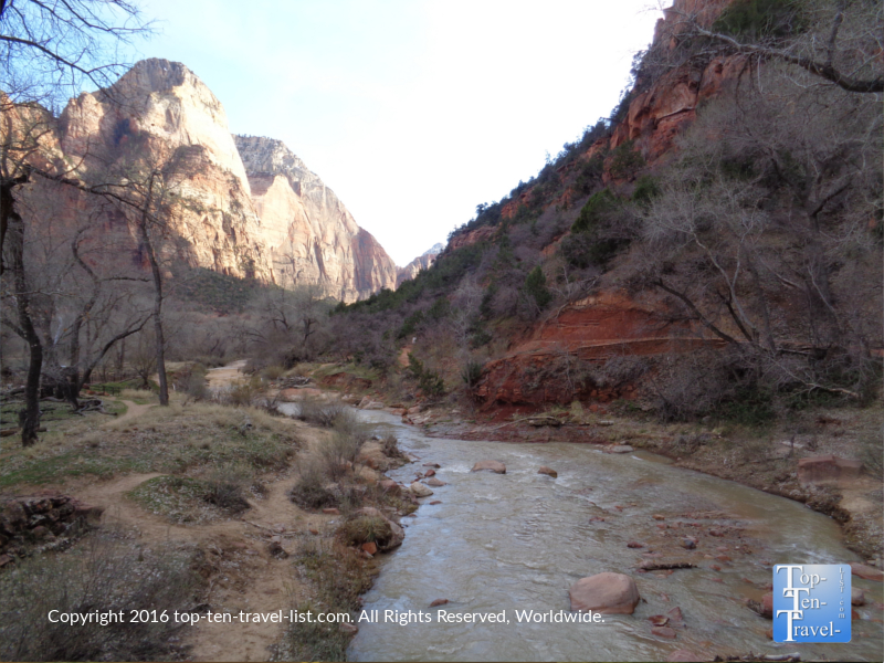 Beautiful river views along the Zion Canyon Scenic Drive