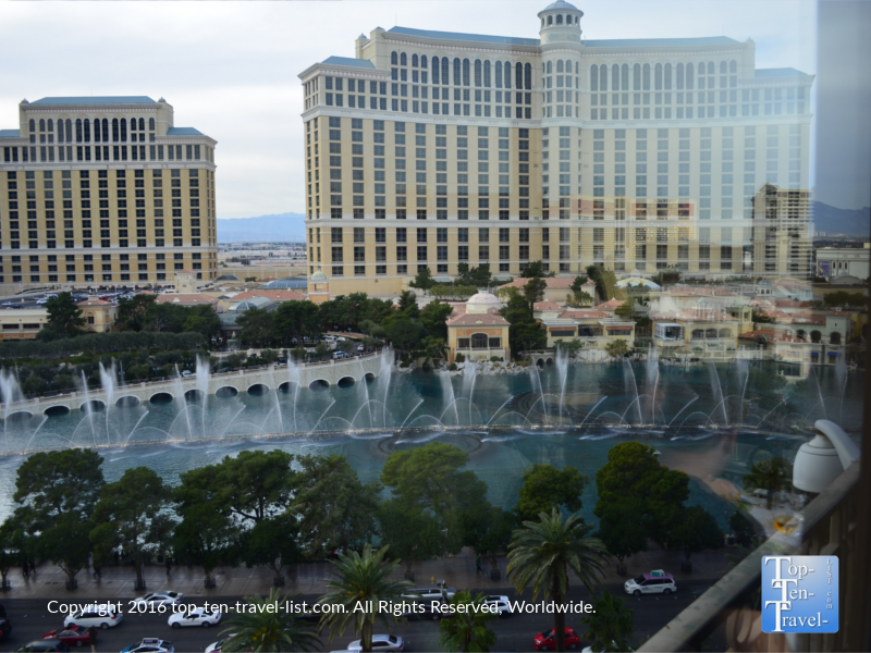 View of the Bellagio fountains from the Eiffel Tower Restaurant in Las Vegas, Nevada