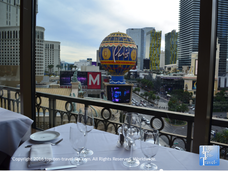 Views of the Paris sign from the Eiffel Tower Restaurant in Las Vegas, NV