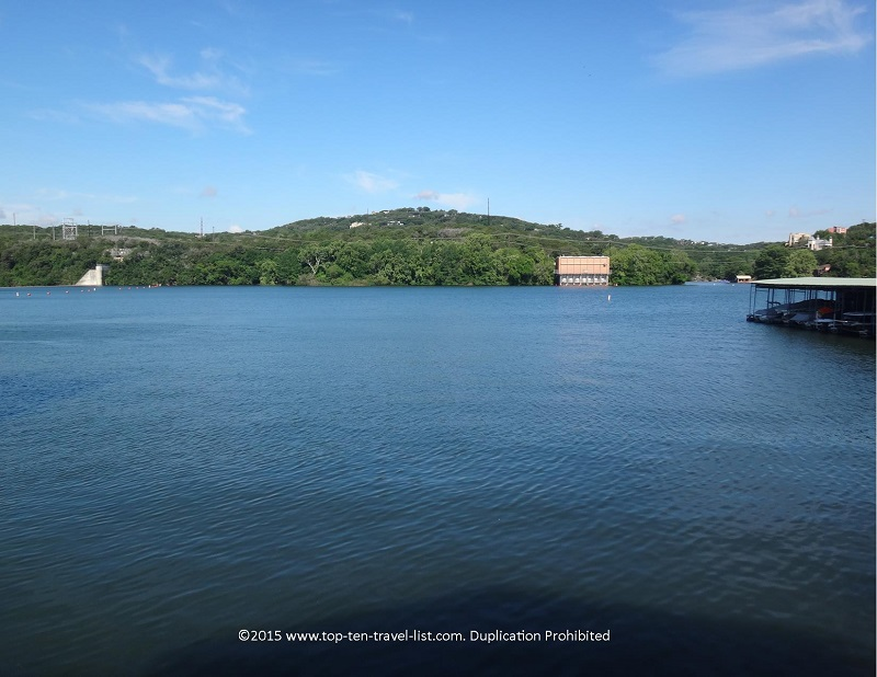 Gorgeous views of Lake Austin from Mozart's Coffee Roasters