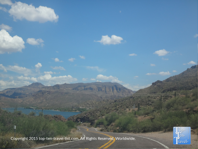 Scenic lake views along the picturesque Apache Trail Scenic Drive in Southern Arizona