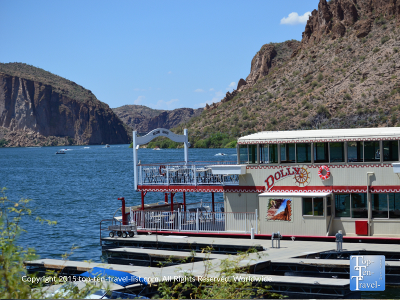 The picturesque Dolly Steamboat cruise along Canyon Lake in Arizona