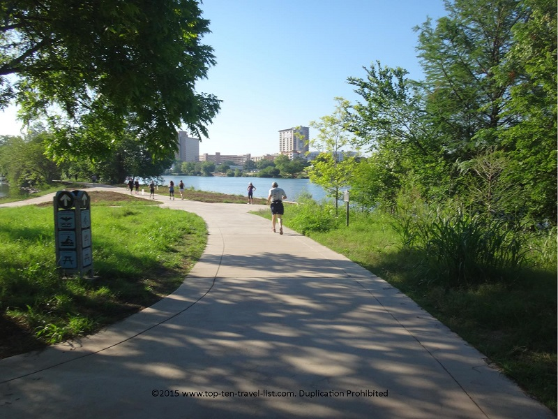 The beautiful paved Lady Bird Trail, complete with gorgeous skyline and lake views!