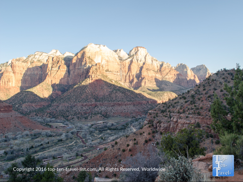 Beautiful views from the summit of the Watchman Trail at Zion National Park