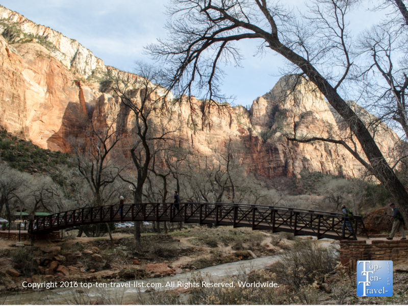 Bridge crossing on the Emerald Pools trail at Zion National Park