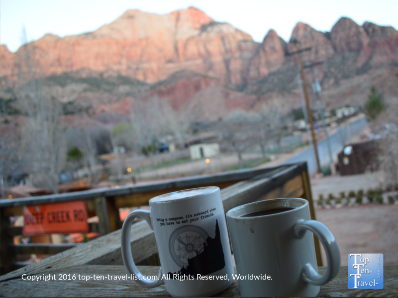 Coffee with a view at Deep Creek Coffee in Springdale Utah