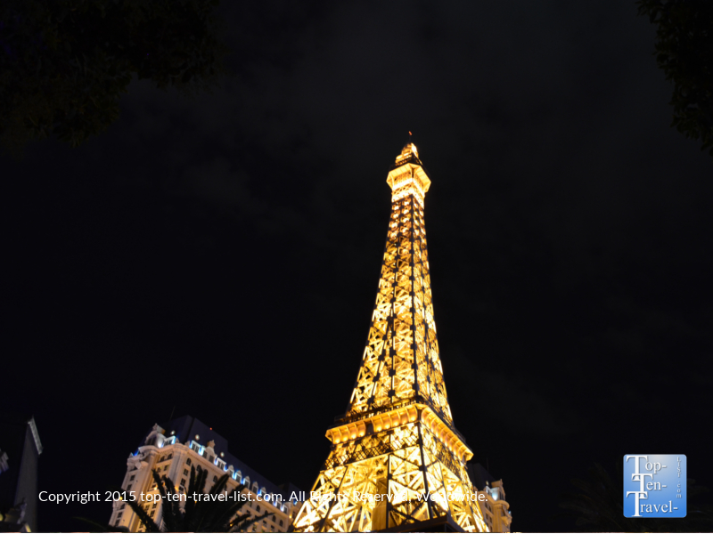 Gorgeous night views of the Eiffel tower replica at the Paris hotel in Las Vegas, Nevada