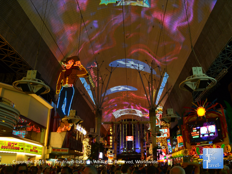 The Fremont Street Experience, is a must-see free show, held every hour beginning and dusk and running until Midnight. The 1500 foot long, 90 foot wide screen features over 12 million LED lights. Great music too!