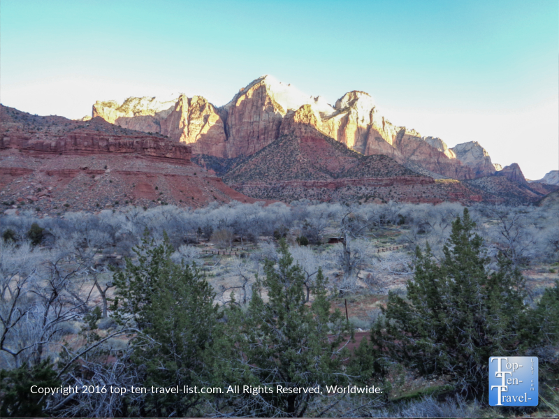 Gorgeous rock formations along the Watchman Trail at Zion