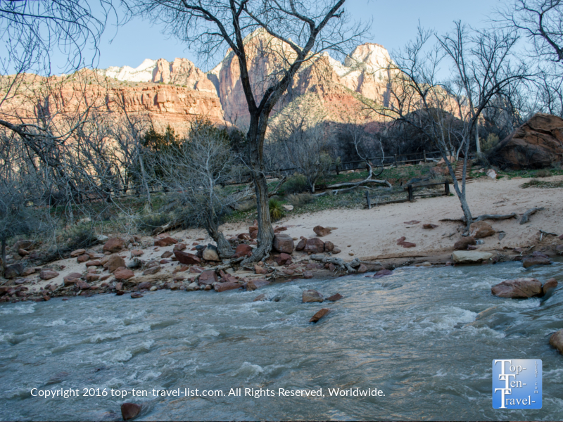 Quiet river and red rocks views on the Watchman Trail at Zion National Park
