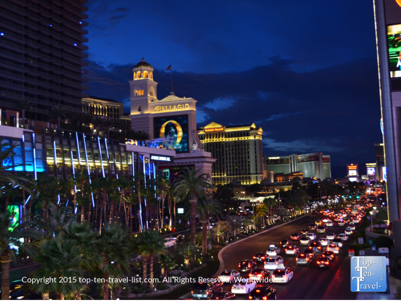 One of the most gorgeous views of The Strip at night (right by Planet Hollywood and totally free!)