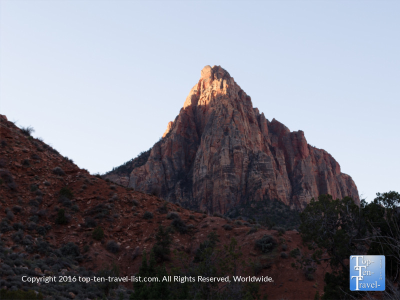 The gorgeous Watchman Tower as seen along the Watchman Trail at Zion National Park