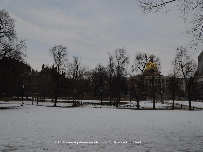Beautiful Boston Common in the winter season