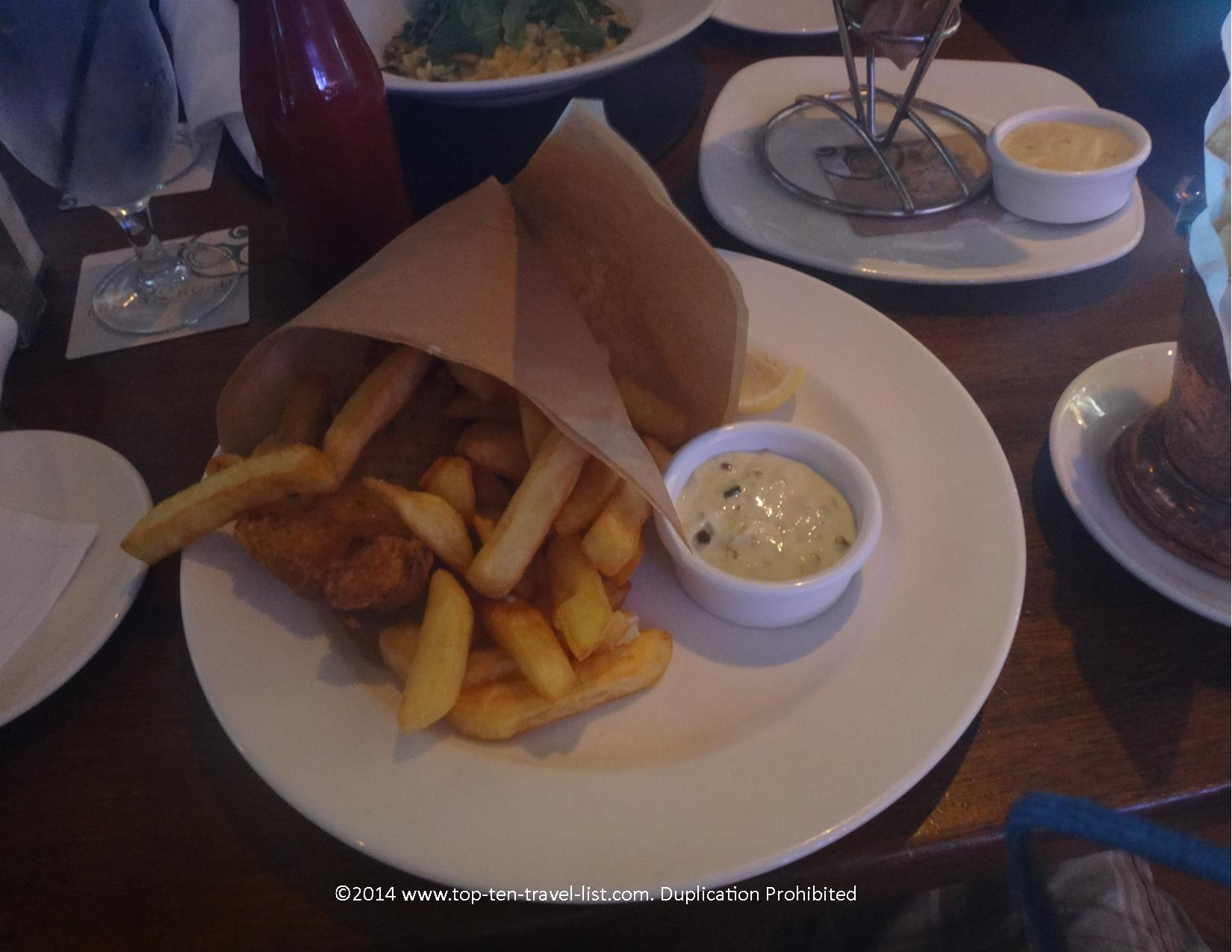 Gluten free fish and chips at Ragland Road in Downtown Disney Orlando, Florida