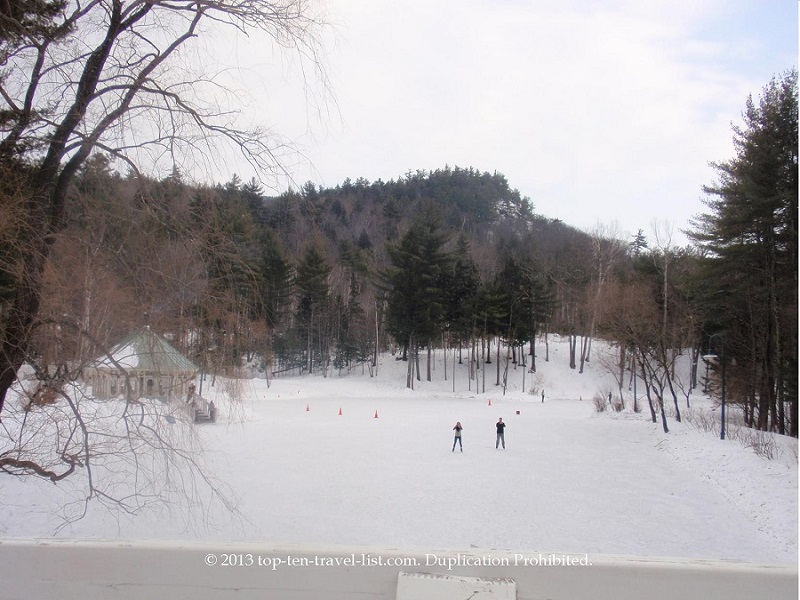 Beautiful Nestlenook Farms ice rink in Jackson, New Hampshire