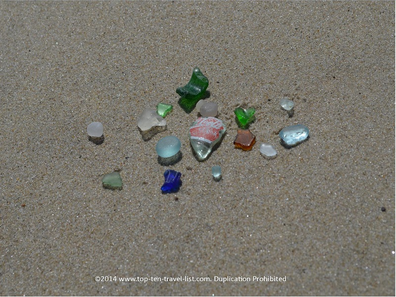 Lots of seaglass found at Scussett State Beach in Bourne, Massachusetts