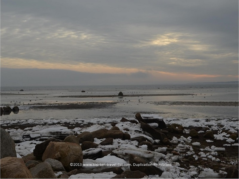 Icy winter views at Little Harbor Beach in Wareham, Massachusetts