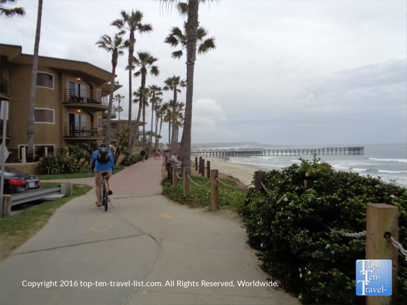 Biking the scenic Pacific Beach boardwalk in San Diego CA