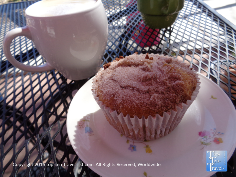 Coffeecake muffin and a mocha at Cuppers in Prescott Arizona