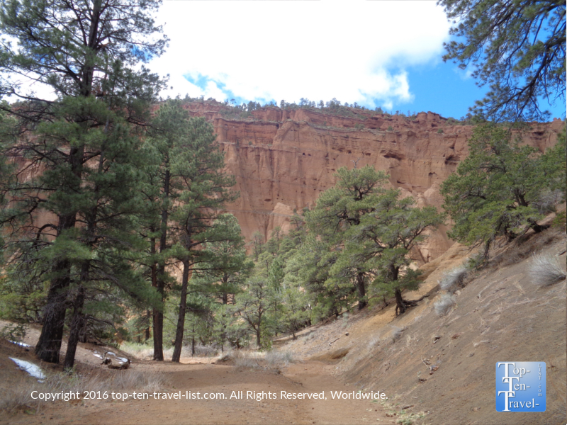 Towering rock formations on the Red Mountain hike in Flagstaff AZ