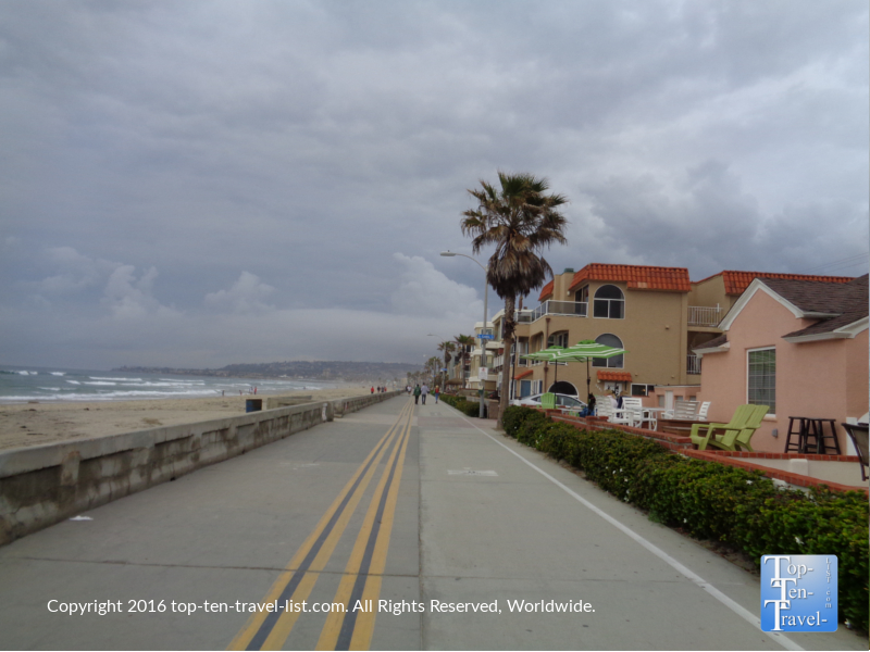 Vacation rentals lining the Mission Beach boardwalk in San Diego CA