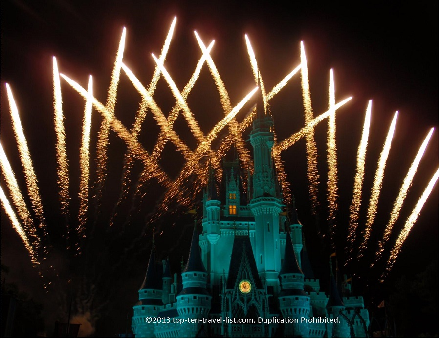 The beautiful Wishes firework show at the Magic Kingdom in Orlando Florida