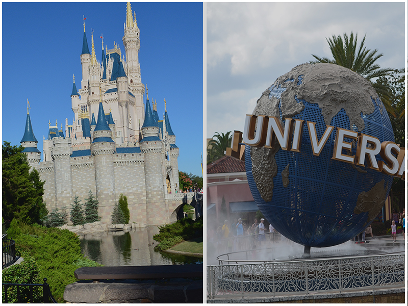 Walt Disney World and Universal Studios in Orlando, Florida