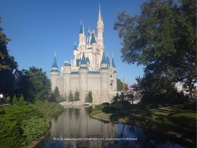 A gorgeous view of the back of Cinderella's Castle at the Magic Kingdom in Orlando, Florida