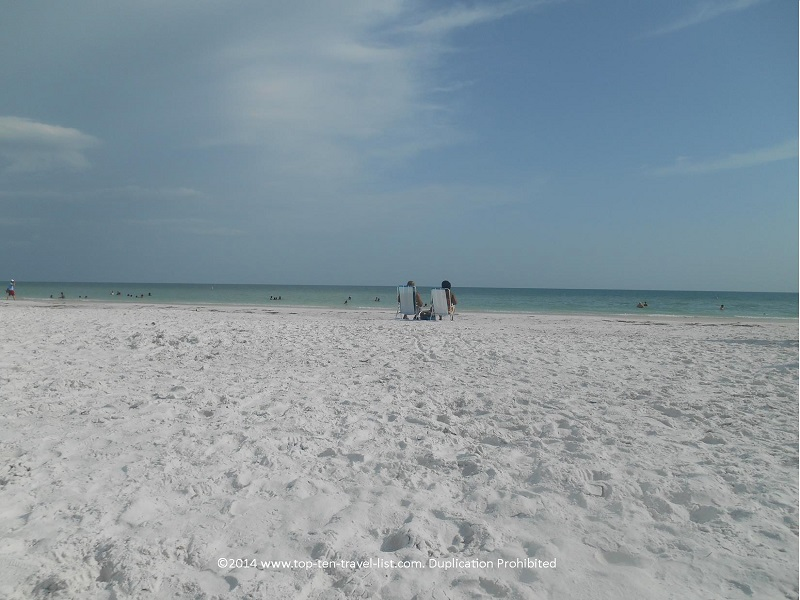 Relaxing on the smooth white sands of Siesta Key Beach.