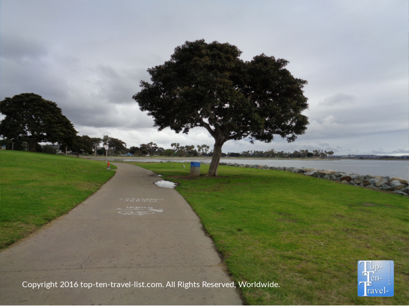 A cloudy day along the Mission Bay bike path in San Diego CA