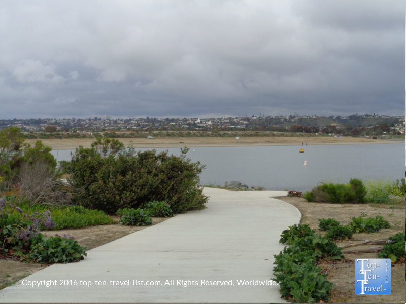 Picturesque views of Fiesta Island from the Mission Bay bike path in San Diego CA
