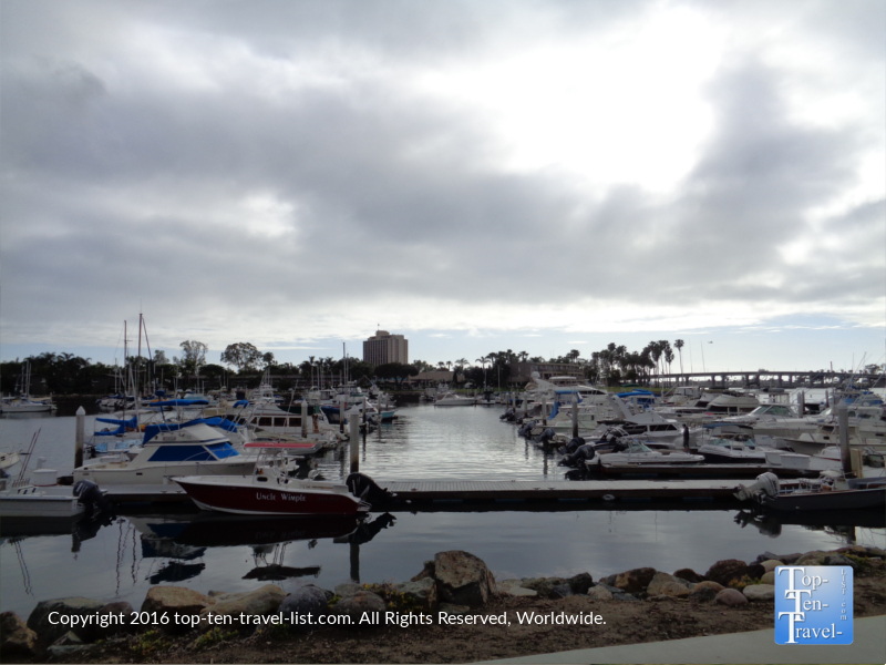 Pretty marina views along the Mission Bay bike path in San Diego CA
