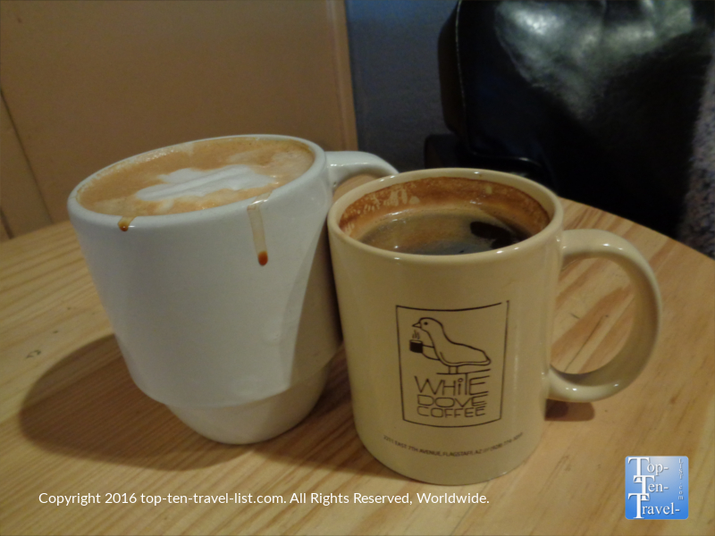 White Chocolate Mocha and Americano at White Dove Coffee in Flagstaff AZ