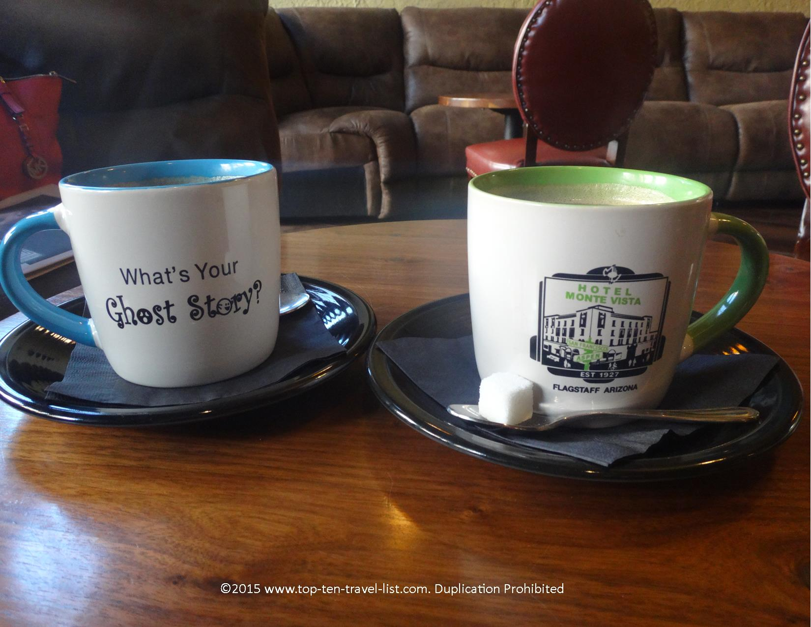 An Americano and Mocha at the haunted Hotel Monte Vista in downtown Flagstaff, Arizona