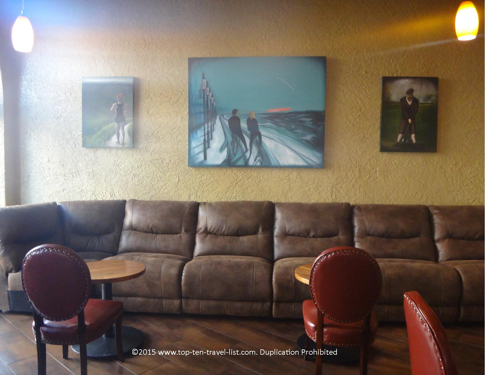 Cozy couches at the haunted Hotel Monte Vista in Flagstaff, Arizona