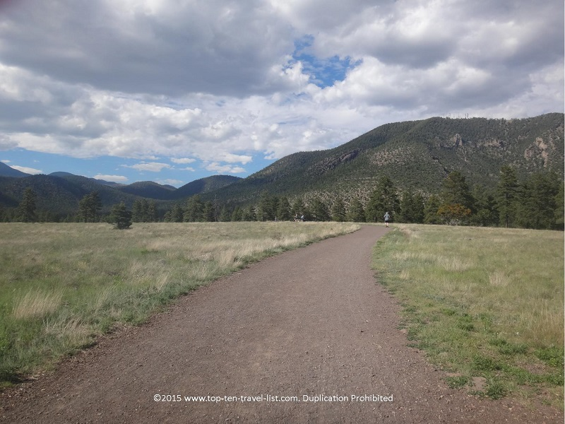The 2 mile loop around Buffalo Park is one of many short sections of the Flagstaff Urban Trail system. This particular trail features great views of the San Francisco Peaks and Mt. Elden.