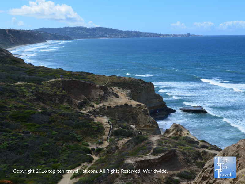 A view of the trail at Torrey Pines Nature Reserve in La Jolla CA