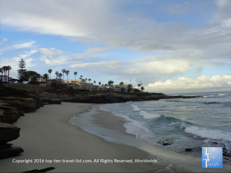 Picturesque La Jolla Cove beach in San Diego CA
