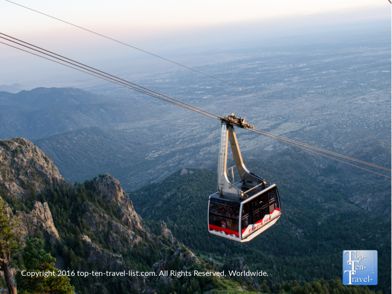 Sandia Peak aerial tram ride at sunset
