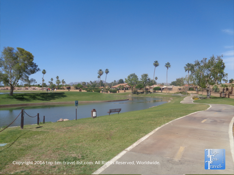 Scenic golf course views along the Scottsdale Greenbelt