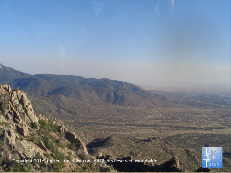 Scenic views of mountains from Sandia Peak tram ride in Albuquerque NM