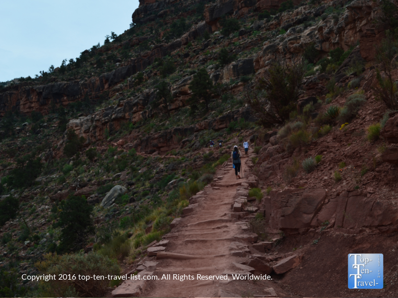 Trekking up the stairs on the Kalibab trail at the Grand Canyon