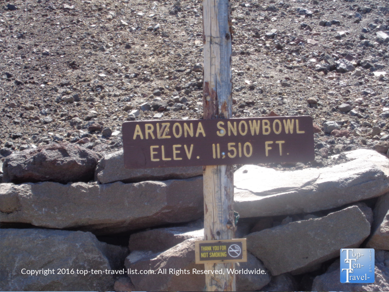Arizona Snowbowl elevaton 11500 sign