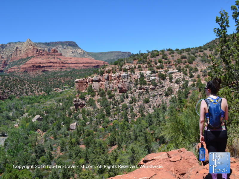 Enjoying the gorgeous overlook from the Huckaby Trail in Sedona AZ