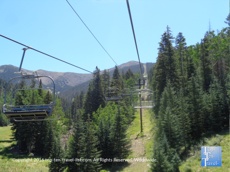 Great views of pines on the Arizona Snowbowl summer chairlift ride in Flagstaff, Arizona