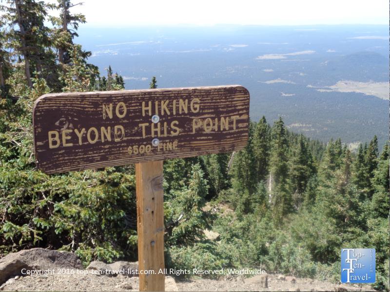 No hiking sign at Arizona Snowbowl